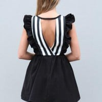 Black Ruffle Frill Dress with Stripe Top and Cutout Back