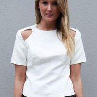 White Short Sleeve Pasiley Print Top with Cutout Detail