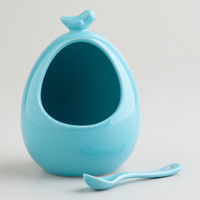 Aqua Bird Ceramic Salt Cellar