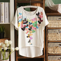 Loose Peach Hearts T-shirts