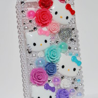 Luxury Crystal Kawaii Hello Kitty Inspired Roses Bling Pink Case for Iphone 4