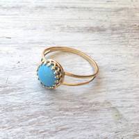 Gold ring, Turquoise ring, stacking ring, vintage ring, stack ring, stack gold ring, Blue ring, classic ring