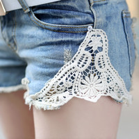 Trend Slim Lace Destroyed Denim Shorts