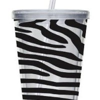 Cypress Home 17-Ounce Insulated Cup With Lid and Straw, Zebra:Amazon:Kitchen & Dining