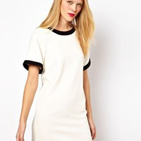 ASOS Shift Dress With Bell Sleeves And Contrasting Panels at asos.com