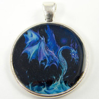 Dragon Pendant - Fantasy Mystical Creature Dark Blue Silver Art Jewelry Charm