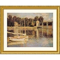 Great American Picture Bridge at Argenteuil Gold Framed Print - Claude Monet - 20872-Gold - All Wall Art - Wall Art & Coverings - Decor