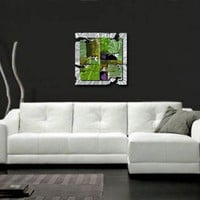"All My Walls Green Radiant Relic Abstract Wall Art - 28"" x 28"" - ABS00042 - All Wall Art - Wall Art & Coverings - Decor"