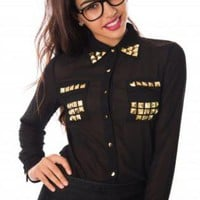 Sheer Black Blouse with Gold Studs