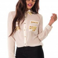 White Studded Collared Top