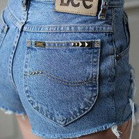 High Waist Studded Denim Shorts from BetaBoutique