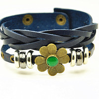 Women leather bracelet Copper Flower Nary Blue Leather bracelet Charm Bracelet, Gril Cuff Bracelet  RZ0293
