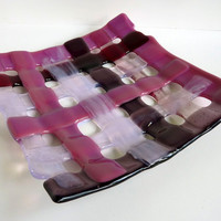 Woven Glass Plate Pink, Phlox and Cranberry