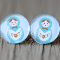 Nesting Doll Earrings  Light Pastel Blue Fake Plug by ArtisanTree