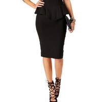 Black Pencil Peplum Skirt