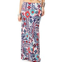Blue/Red Aztec Print Maxi Skirt