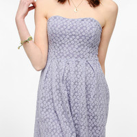 Cooperative Floral Mesh Strapless Skater Dress