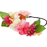 Pink flower hair garland - hair accessories - accessories - women