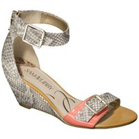 Women's Sam & Libby Sonia Sliver Wedge Sandal with Ankle Strap - Natural Snake/Coral