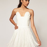 Aqua Flapper Structured Fringe Bandeau Dress at asos.com