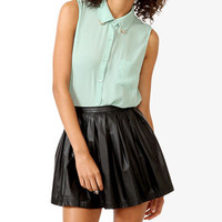 Metal Tip Collar Tie Blouse