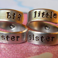 big sister lil sister the original  set of two aluminum swirl version  style  rings 1/4 inch