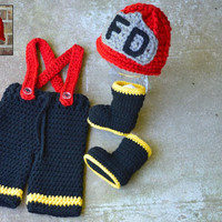 Firefighter hat pants boots set ,Fireman Set ,baby hat ,Baby pants ,shoes ,booties,photography prop ,newborn 0-3 months , custom colors