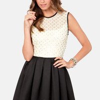 TFNC Libby Cream and Black Beaded Dress