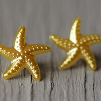 Starfish Studs  Gold Starfish Stud Earrings Yellow by ArtisanTree