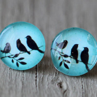 Birds on a Wire Stud Earrings  Teal Blue and Black by ArtisanTree