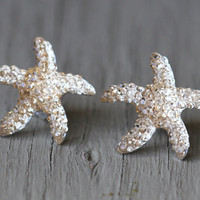 Starfish Earrings  Gold Crystal Starfish Studs by ArtisanTree