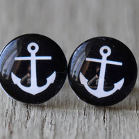 Anchor Studs  Black and White Nautical Glass Anchor by ArtisanTree
