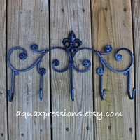 Metal Wall Hook /Navy Hanger/ Five Hook/ Fleur de lis metal decor/ Decorative Key, Towel Holder/ Painted Coat Rack/ Iron /French Country