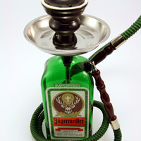 Jagermeister 750ml Bottle Shisha Hookah With Your Choice Hose, Tray, and Bowl