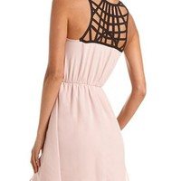 Lattice Back Chiffon A-Line Dress: Charlotte Russe
