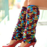 Crochet Leg Warmers in Gypsy Print - Bohemian Fashion