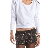 Spiked Shoulder French Terry Sweatshirt: Charlotte Russe