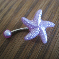 Belly Button Jewelry Ring- Starfish Shell Star Fish Stud Purple Pearl Navel Piercing Bar Barbell