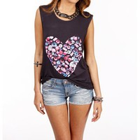 CharcoalMulti Jeweled Heart Top