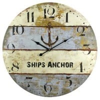 Amazon.com: Ships Anchor Harbormaster Beach Coastal Decor Extra Large Wall Clock - 23-in: Home & Kitchen