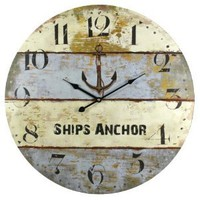 Ships Anchor Harbormaster Beach Coastal Decor Extra Large Wall Clock - 23-in