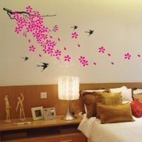Amazon.com: Super Giant Easy Wall Decor Sticker Wall Decal - Cherry Blossom, Birds: Home & Kitchen