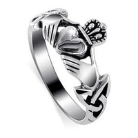 Amazon.com: Nickel Free Sterling Silver Irish Claddagh Friendship and Love Polish Finish Band Ring Size 4, 5, 6, 7, 8, 9, 10, 11, 12, 13: Jewelry
