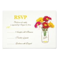 Mason jar and gerbera daisies wedding RSVP Announcements from Zazzle.com