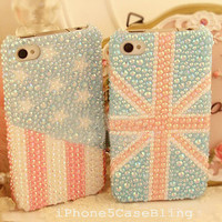 iPhone 4 Case, iPhone 4s Case, iPhone 5 Case, iPhone 5 bling case, Bling iPhone 4 case,  Cute iPhone 4 case, UK flag iphone 4 case USA flag