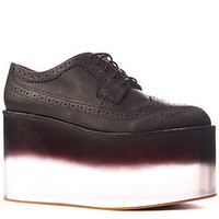 Jeffrey Campbell Shoes Washed Leather and  Fade Clear Platform in Black