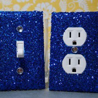 SET of CHUNKY ELECTRIC BLUE GLITTER Switch Plates / Outlet Covers ANY