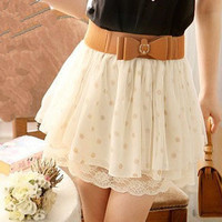 Cute Wave Point Lace Skirt