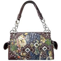 Amazon.com: Canvas Camo Triple Rhinestone Cross Satchel Purse Camouflage (brown): Clothing