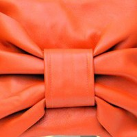 Orange Leather Bow Clutch